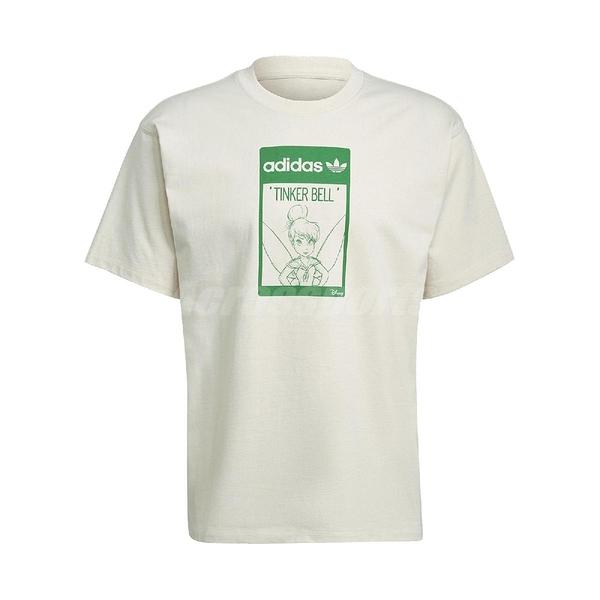 adidas 短袖T恤 Original Tee Tinkerbell 米白 綠 男女款 短T 奇妙仙子 小叮噹 運動休閒 【ACS】 GP3392