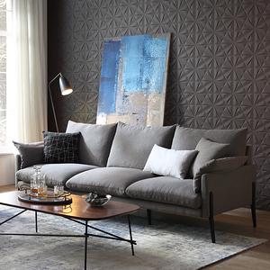 林氏木業輕奢現代可拆洗北歐三人布沙發(附抱枕)RAG1K-中灰色