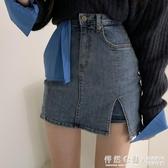 韓國東大門女裝2020夏季新款性感側開叉包臀牛仔短褲短裙半身裙潮 怦然心動