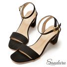 訂製款 一字繞踝方頭高跟涼鞋-山打努SANDARU【03B913】黑色下單區