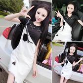 心機洋氣俏皮套裝女兩件套夏季韓版圓領短袖上衣 背帶裙牛仔短裙
