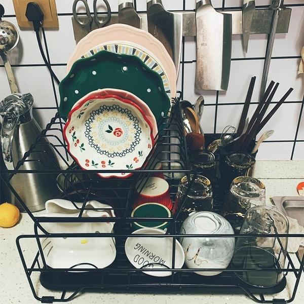 廚房雙層碗碟架瀝水架單層碗筷餐具收納盒放碗碟盤子置物架台面 ATF錢夫人小鋪