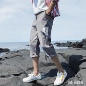 七分褲男士寬鬆韓版潮流夏季薄款7分褲夏天八分運動休閒六分短褲 QG20855『Bad boy時尚』