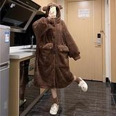 睡袍 珊瑚絨睡裙睡衣女春季可愛長款睡袍加厚毛絨絨家居服2021年新款【快速出貨八折鉅惠】