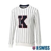 K-SWISS Stripe Sweat Shirts圓領長袖上衣-男-白