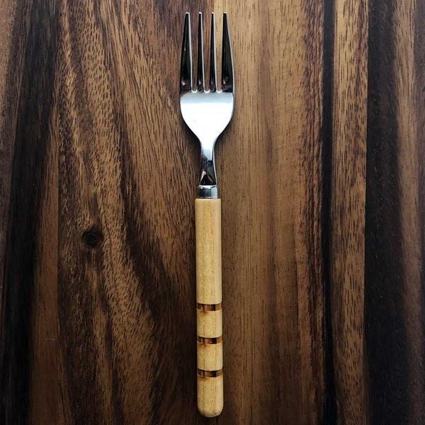 日本 MEISTER HAND ASIN原木甜點叉子2入組-三本線