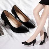 春季 尖頭黑色高跟鞋女淺口中跟軟面皮鞋職業正裝單鞋細跟