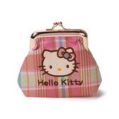 《Sanrio》HELLO KITTY彩色格紋系列珠扣式零錢包★funbox生活用品★_RD00149