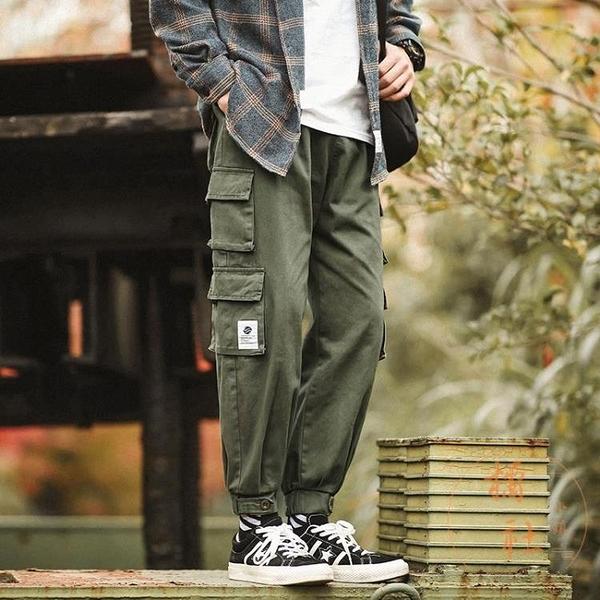 工裝束腳褲男大碼休閒長褲直筒寬鬆純色褲子【橘社小鎮】