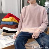 毛衣男 文藝男女店社會小伙毛衣男士韓版潮流半高領針織衫秋季套頭衣服男 米蘭街頭