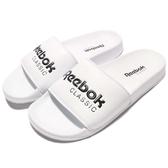 Reebok 拖鞋 Classic Slide 白 黑 基本款 復古 大LOGO 舒適好穿 男鞋 女鞋【PUMP306】 BS7417