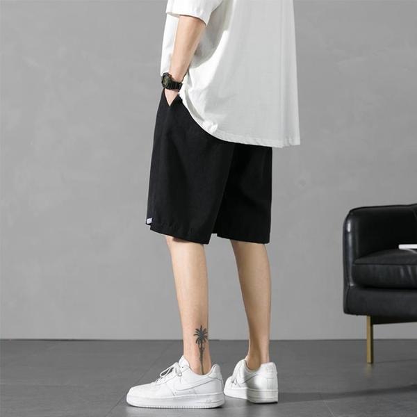 短褲男夏季冰絲運動五分褲寬鬆休閒海灘褲大碼七分中褲子外穿褲衩米娜小鋪