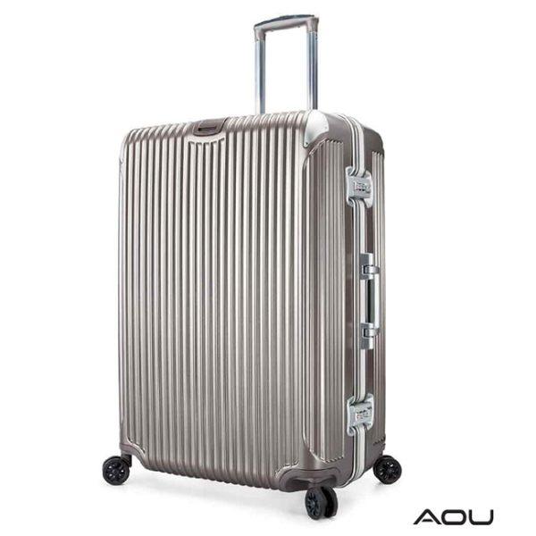 AOU 極速致美運動版 27吋PC防刮專利設計鋁框行李箱(香檳金)90-020F