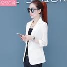 西裝外套 七分袖新款西服女夏薄款氣質顯瘦小個子休閒西裝短款外套韓版 星河光年