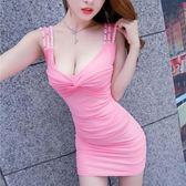 夜場女裝性感夏新款修身顯瘦露背吊帶低胸包臀氣質夜店連身裙   糖糖日系森女屋
