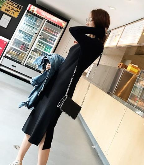 EASON SHOP(GW9229)韓版法式針織坑條黑色長袖V領連身裙女側開衩洋裝彈力貼身過膝中長款包臀長裙睡裙