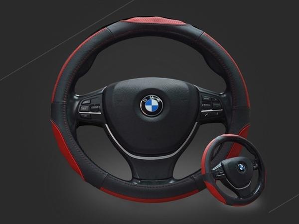【真皮方向盤套】汽車用頭層牛皮奢華方向盤皮套 車載防滑耐磨運動方向盤握把套 保護套