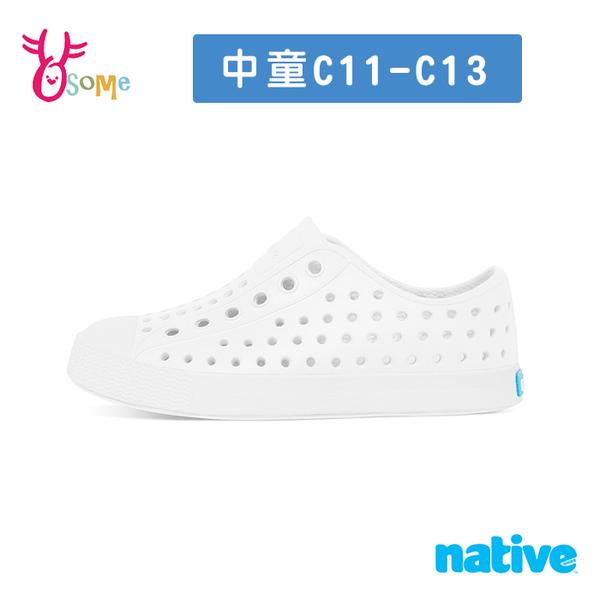 native水鞋 男女童鞋 JEFFERSON 全白 中童 奶油頭 洞洞鞋 休閒鞋 懶人鞋 透氣防水 L9495#白色◆奧森