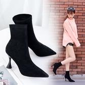細跟尖頭短靴2019秋季新款時尚中筒彈力靴襪靴性感紫色馬丁靴 XN7903【花貓女王】