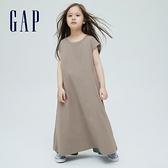 Gap女童 厚磅密織系列雅致純棉無袖洋裝 697683-淺紫灰