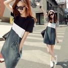 2021夏季新款短袖拼接牛仔連衣裙女韓版大碼女裝顯瘦A字打底短裙「時尚彩紅屋」
