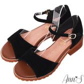 Ann'S單純日常-側V顯瘦繫帶寬版涼鞋-黑