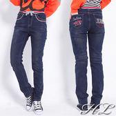 ‧HL超大尺碼‧【13051028】英幟口袋刷色修身纖腿單寧牛仔褲2色