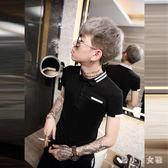 Polo衫夏季男短袖T恤潮流翻領修身大碼半袖衣服 XW2536【潘小丫女鞋】