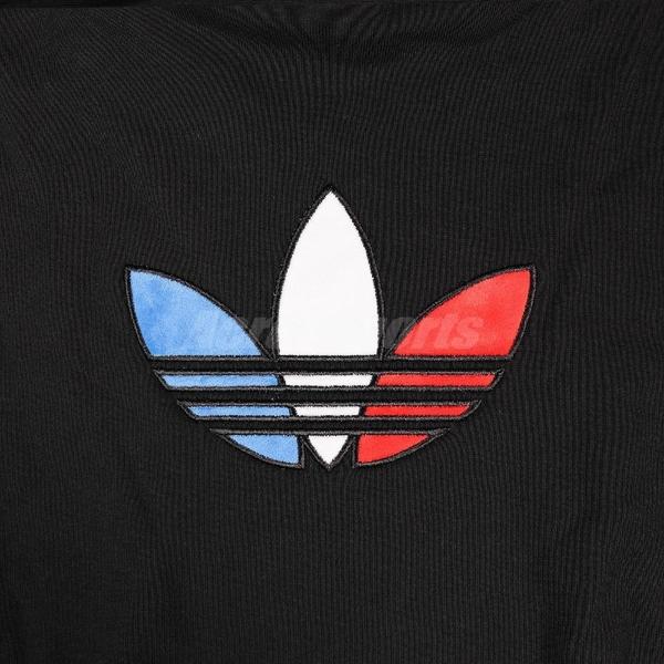 adidas 長袖T恤 Originals Adicolor Tricolor Trefoil Crop Hoodie 黑 紅 女款 帽T 運動休閒 【ACS】 GN2853