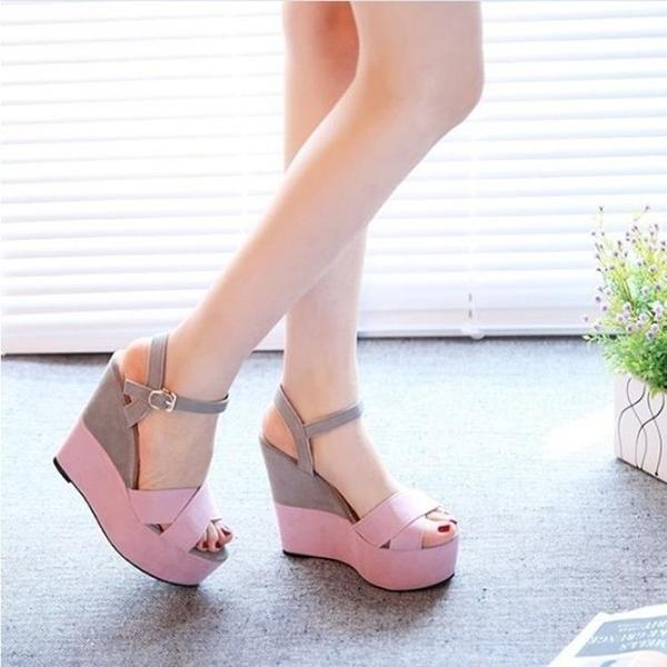 魚口鞋 新款磨砂坡跟涼鞋女夏高跟優雅公主鬆糕厚底防水臺露趾女鞋潮 交換禮物