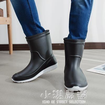 雨鞋男膠鞋中筒防滑防水雨靴水鞋套鞋釣魚鞋洗車工作鞋男膠鞋『小淇嚴選』