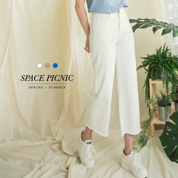 直筒 寬褲 Space Picnic|預購.抽鬚水洗牛仔直筒寬褲【C18033007】
