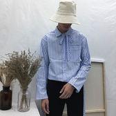 韓版復古港風日繫原宿襯衣寬鬆bf風淺藍色繫帶條紋襯衫男    琉璃美衣
