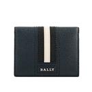 【BALLY】Talder 防刮皮革黑白條紋二折名片/卡片夾(深藍色) 6226439 17