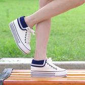 海軍風帆布鞋女子學生內增高厚底鬆糕鞋低筒百搭休閒鞋黑   可然精品鞋櫃