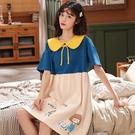 短袖睡裙 純棉睡裙女夏季韓版學生公主少女家居服可愛薄款短袖寬松孕婦睡衣