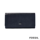 FOSSIL LOGAN 三折真皮拉鍊RFID長夾-深藍色 SL7833406