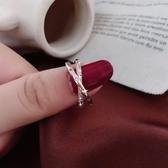 戒指 時尚玫瑰金開口食指戒指女個性網紅冷淡風指環鑲鉆交叉戒子ins潮