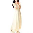沙灘裙 夏季純色氣質雪紡大擺洋裝無袖仙女長裙飄逸中長款度假沙灘裙潮-Ballet朵朵