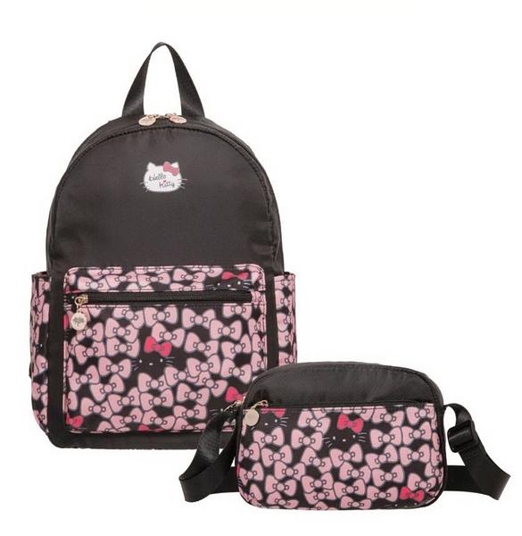 Hello Kitty - 凱蒂躲貓貓-後背包&側背包-2件組 黑 AWFPKT0GBK