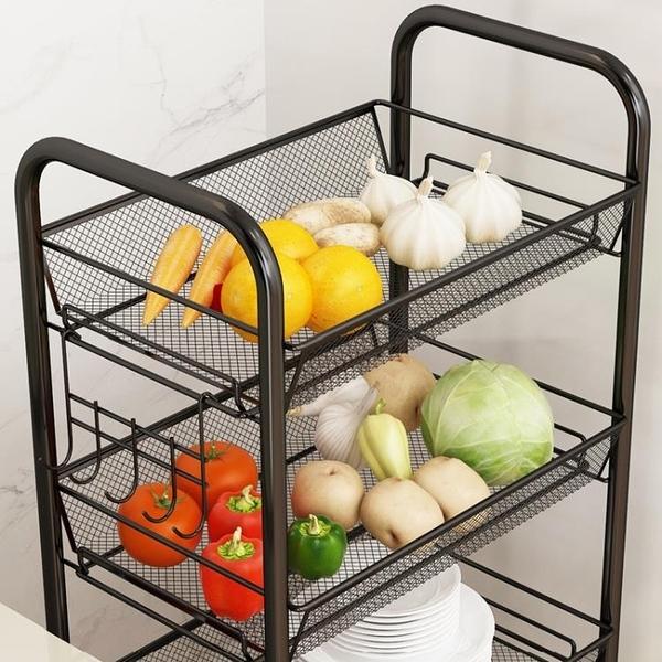 廚房收納置物架子衛生間床頭落地式多層小推車調料架蔬菜籃子 安雅家居館
