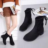 襪筒靴秋冬新款短板靴女中筒粗跟高跟圓頭瘦腿短靴百搭女生靴【巴黎世家】