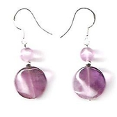 紫水晶耳環 - 紫晶波浪形與紫玉純銀耳環