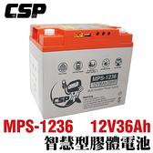 MPS1236智慧型膠體電池12V36Ah /12V冰箱 12V燈具 12V風扇 太陽能板充電 露營 釣魚適用