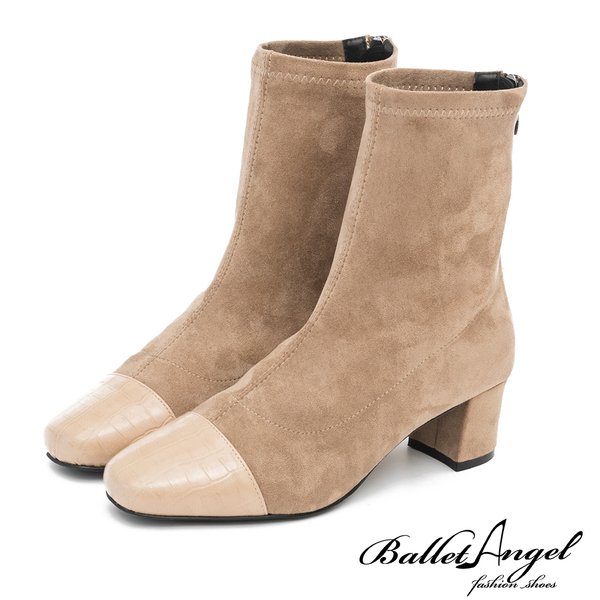 短靴 典雅氣質格紋雙拼中跟短靴(卡其) *BalletAngel【18-138-5】【現+預】