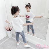 女童短袖T恤2019新款夏裝韓版兒童白色上衣洋氣小女孩半袖打底衫