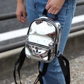L-adidas MINI 背包 後背包 休閒 反光 銀 休閒 運動 三葉 黑銀 ED5884