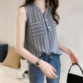 雪紡襯衣女夏季韓版潮大碼V領無袖條紋襯衫