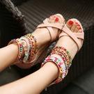 中大尺碼女鞋 2021新款彩色串珠波西米亞民族風高跟坡跟涼鞋厚底女鞋松糕鞋大碼43