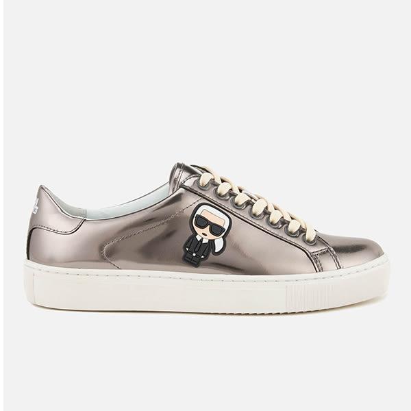 Karl Lagerfeld 卡爾 老佛爺 女鞋 KUPSOLE Q版綁帶休閒鞋-銀灰